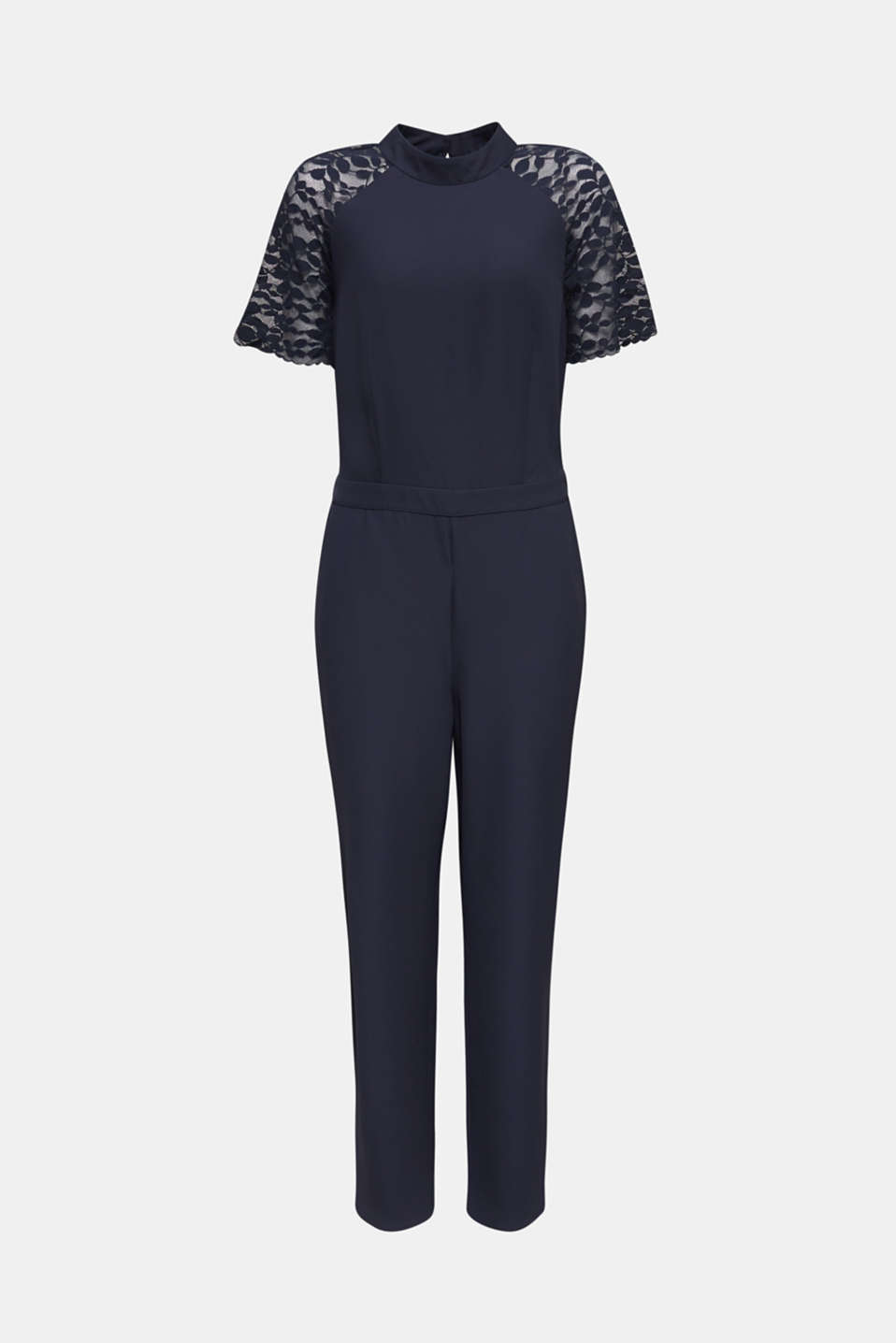 Jumpsuit with lace sleeves, NAVY, detail image number 7