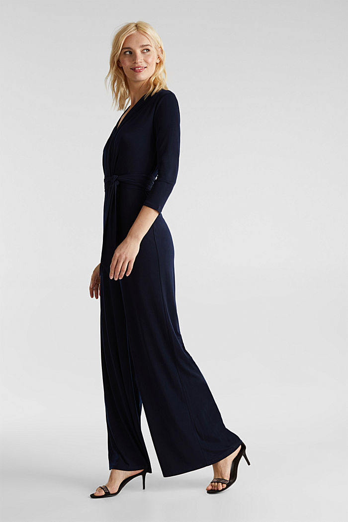 Jersey jumpsuit with a wide leg, NAVY, detail image number 0