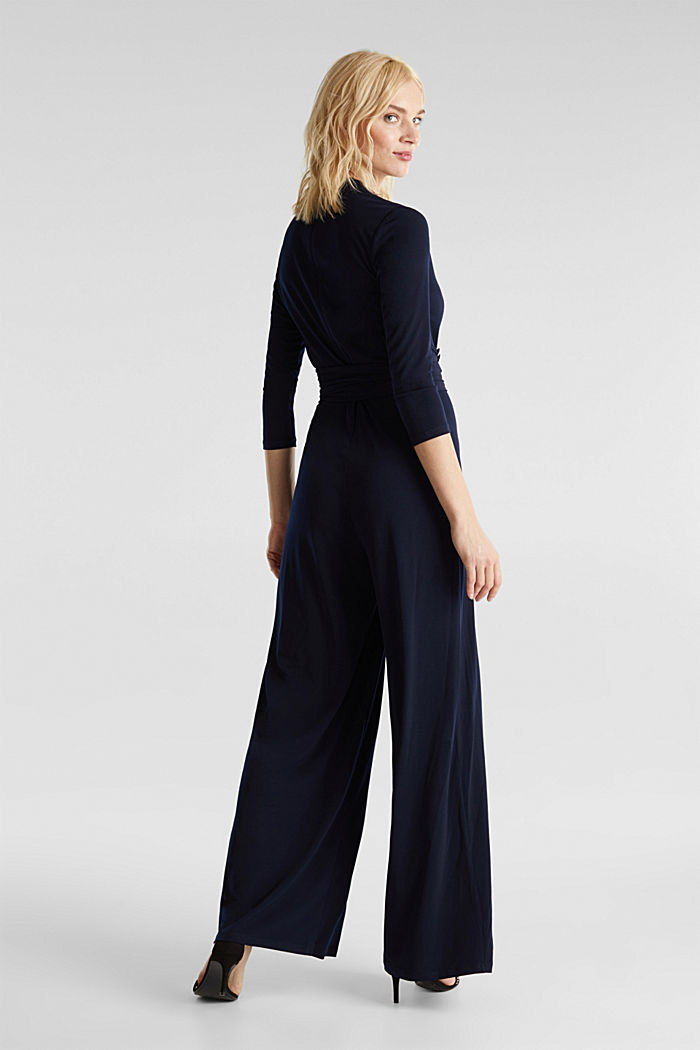 Jersey jumpsuit with a wide leg, NAVY, detail image number 2