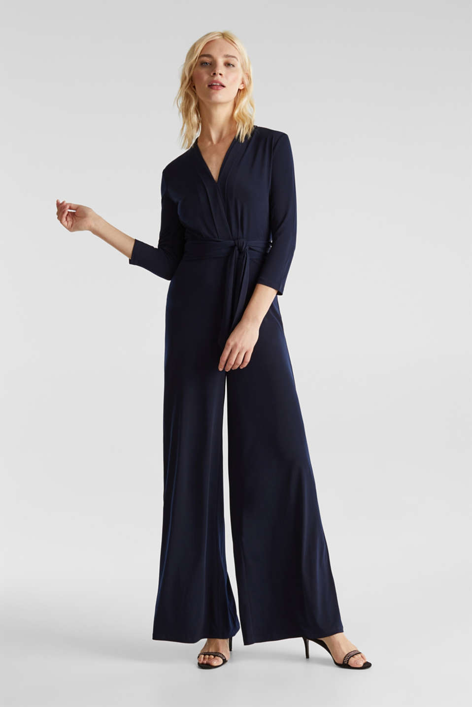 Jersey jumpsuit with a wide leg, NAVY, detail image number 1