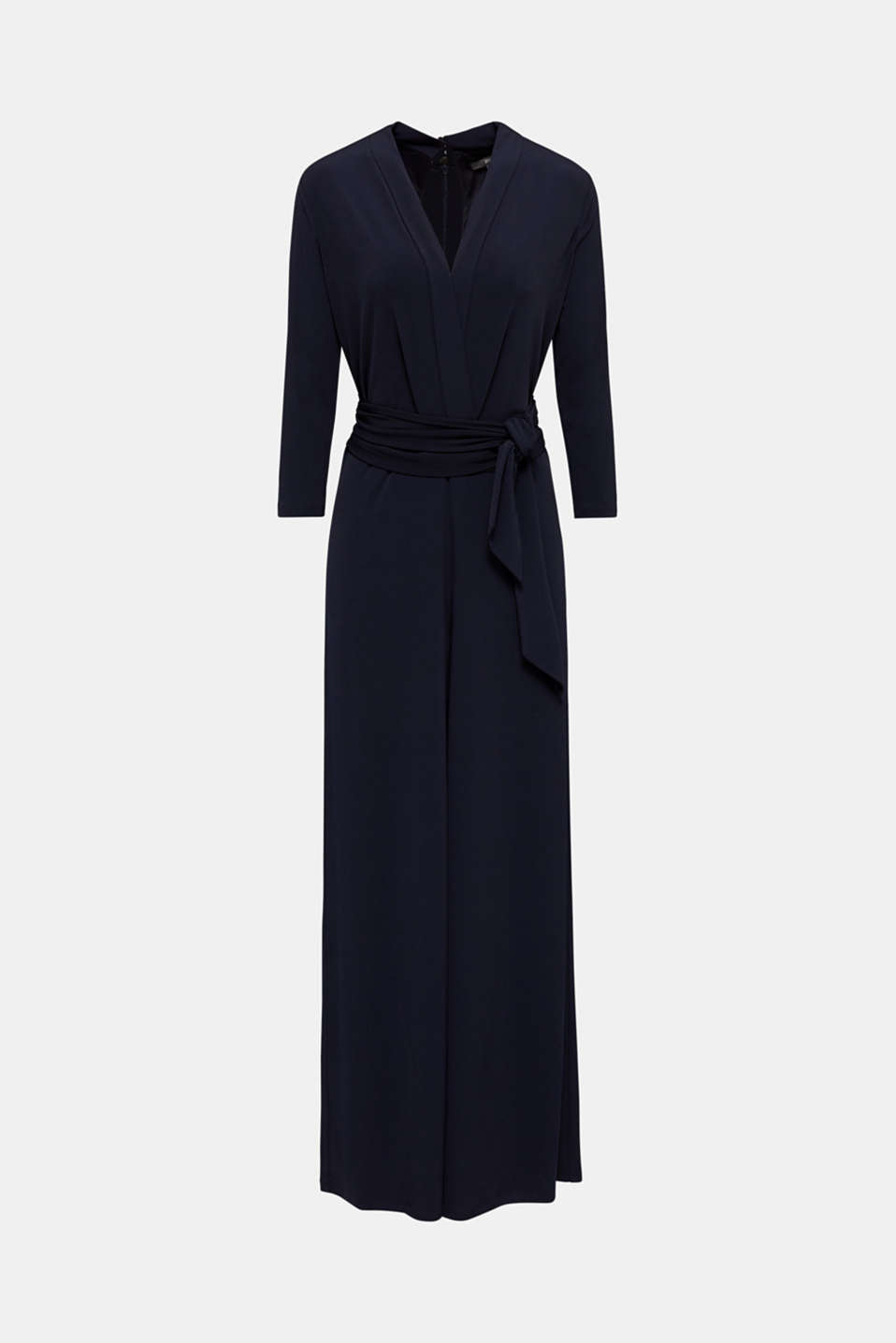 Jersey jumpsuit with a wide leg, NAVY, detail image number 4