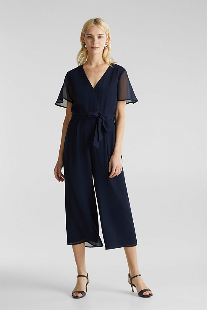 Wickel-Overall aus Chiffon, NAVY, detail image number 0