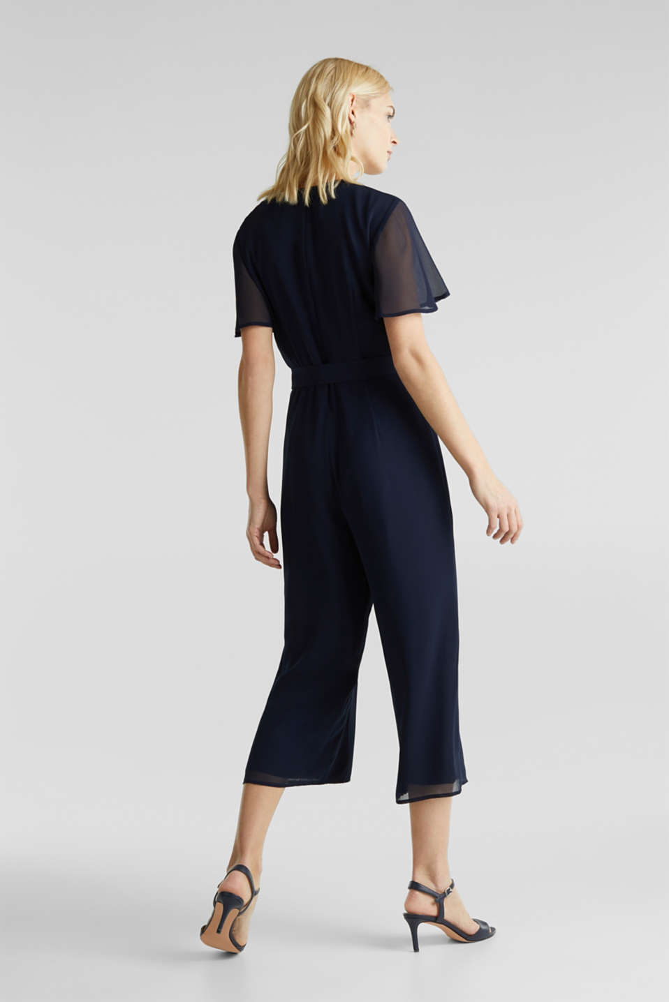 Chiffon jumpsuit with a wrap effect, NAVY, detail image number 3