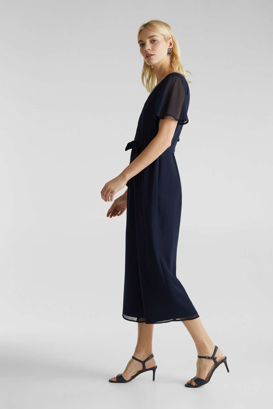 Chiffon jumpsuit with a wrap effect, NAVY, detail image number 5
