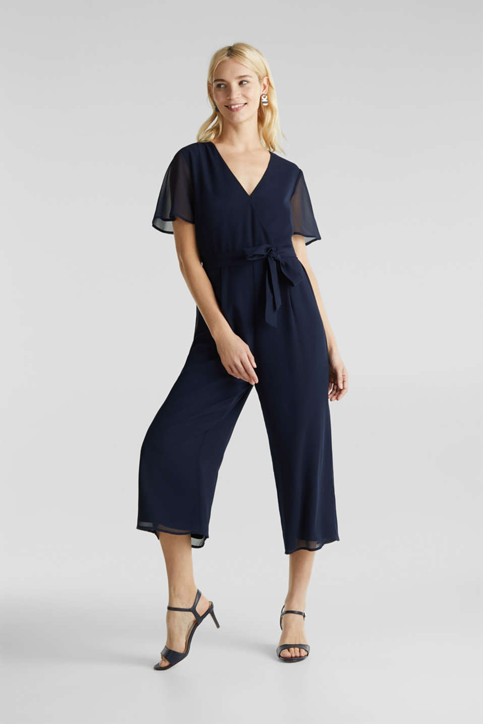 Chiffon jumpsuit with a wrap effect, NAVY, detail image number 1