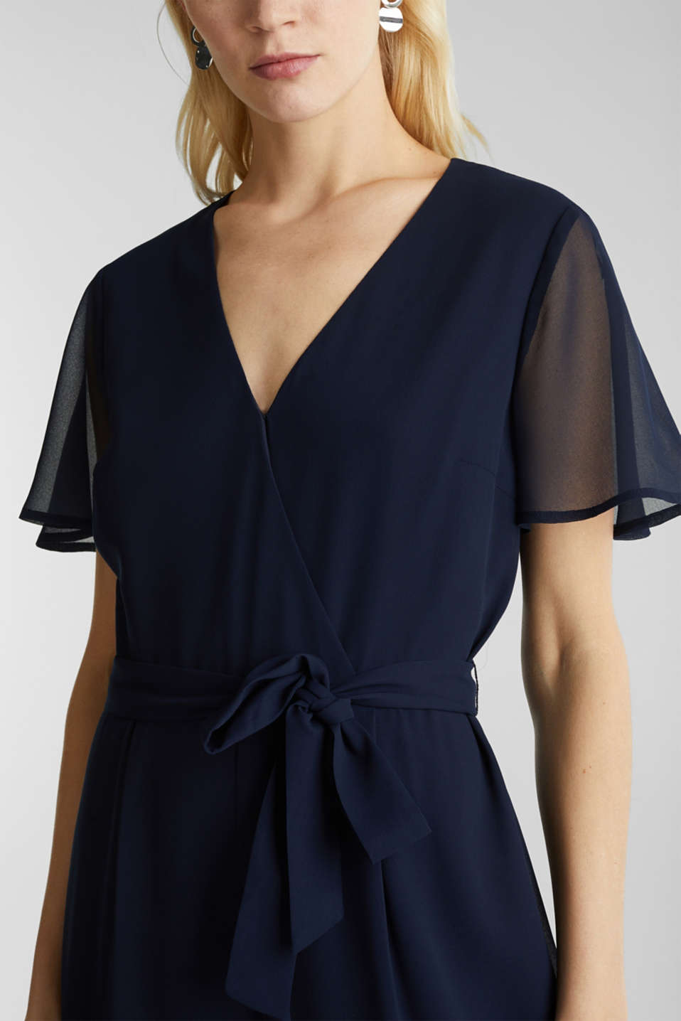 Chiffon jumpsuit with a wrap effect, NAVY, detail image number 2