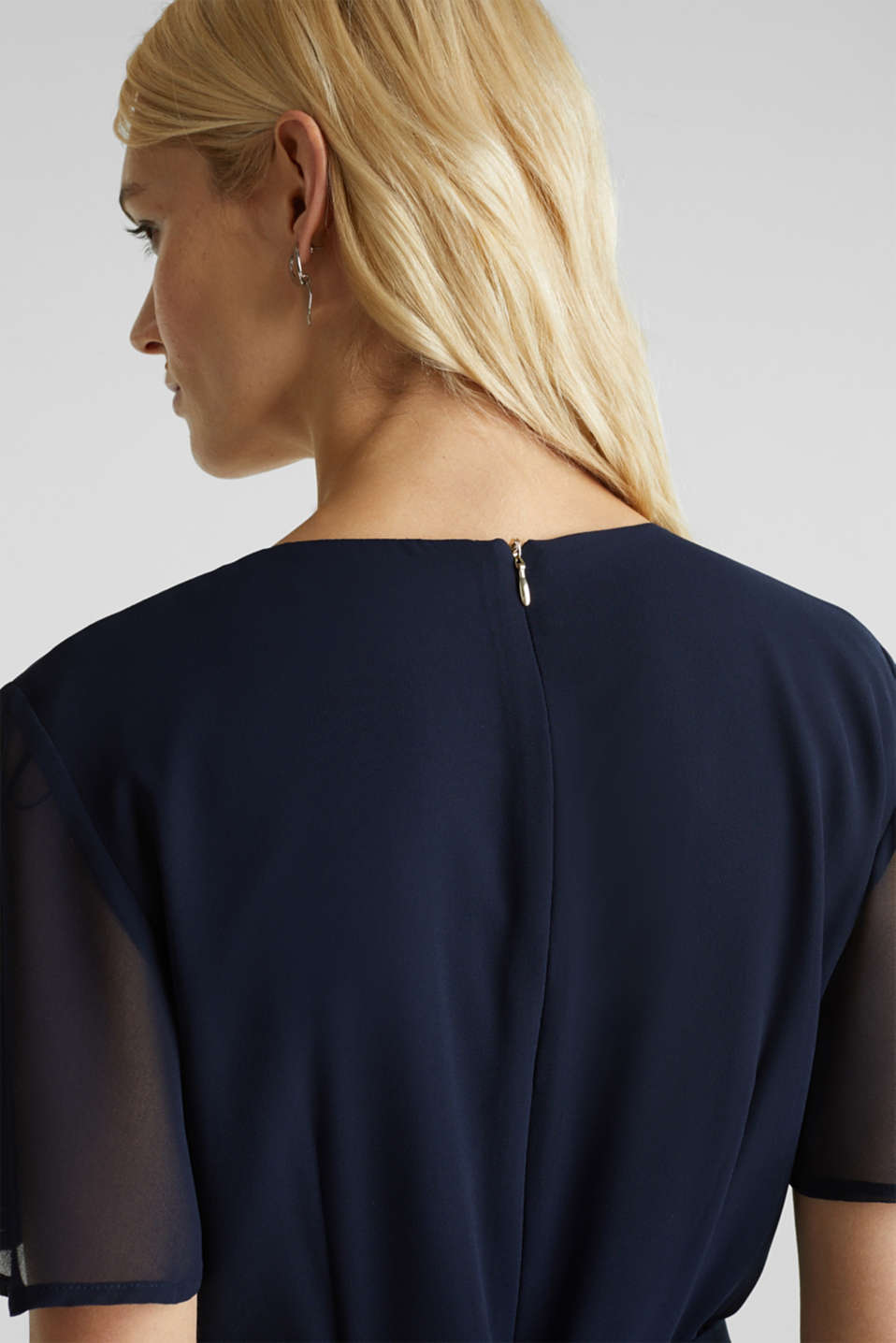 Chiffon jumpsuit with a wrap effect, NAVY, detail image number 6