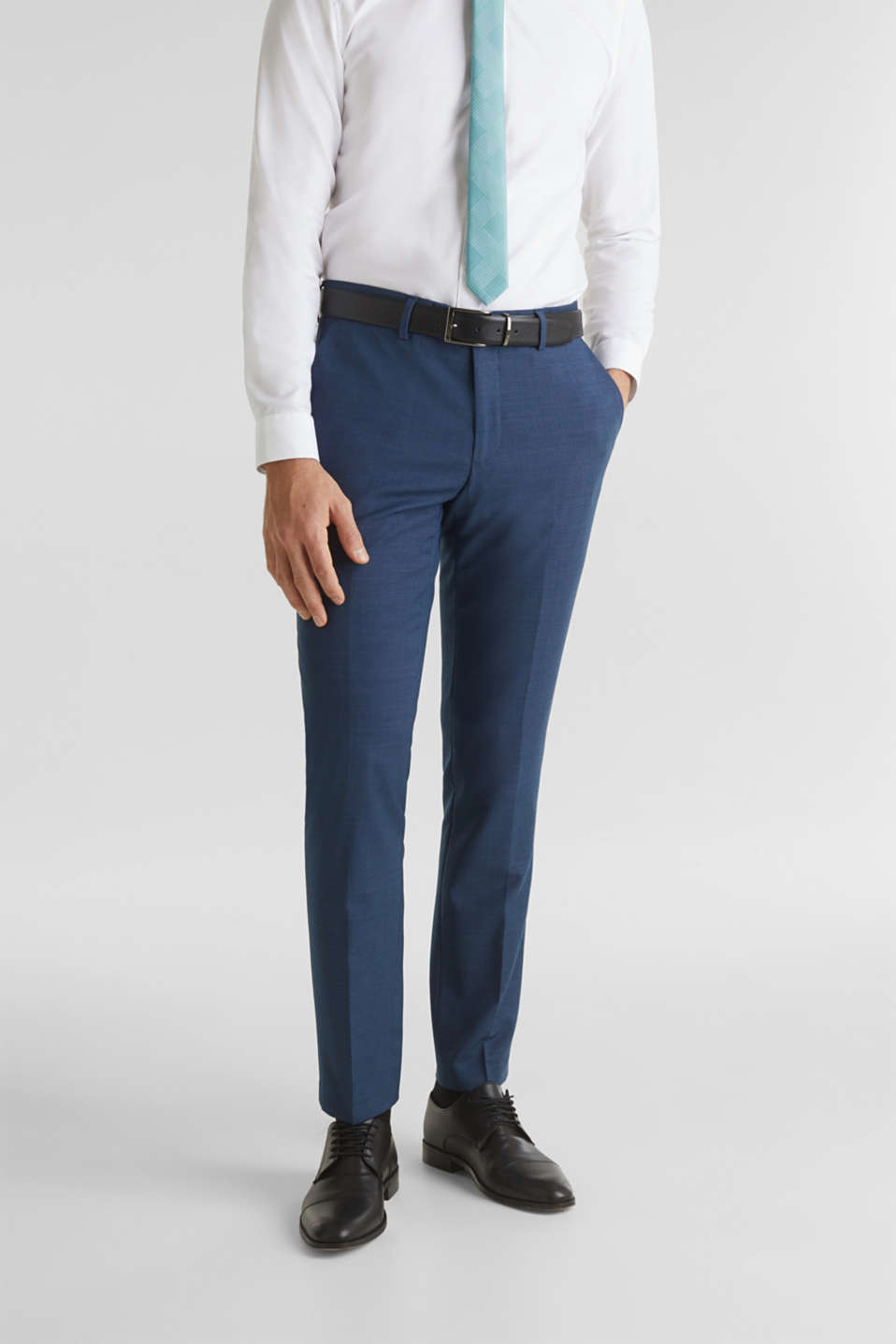 Esprit - BLUE WOOL mix + match: Trousers