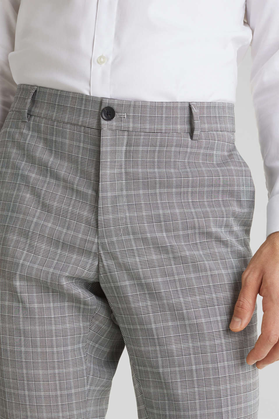 3-PIECE mix + match: Prince of Wales check trousers, LIGHT GREY 3, detail image number 3