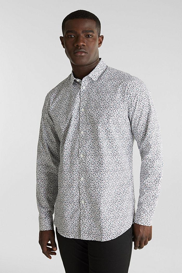 Gebloemd overhemd van 100% katoen, WHITE, detail image number 0