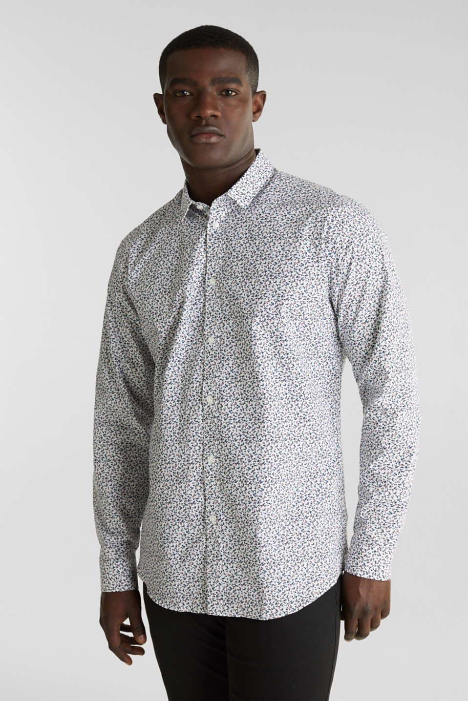 Floral shirt made of 100% cotton, WHITE 5, detail image number 0