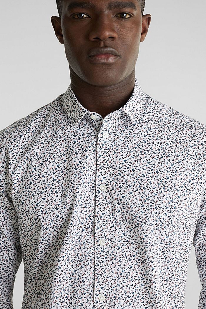 Gebloemd overhemd van 100% katoen, WHITE, detail image number 2