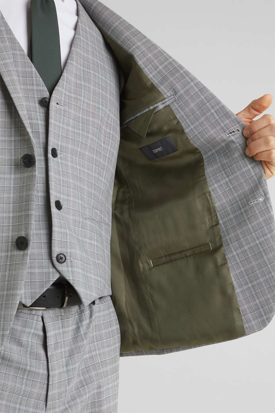 3-PIECE mix + match: Prince of Wales check jacket, LIGHT GREY 3, detail image number 4