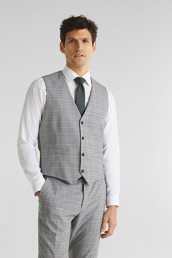 3-PIECE mix + match: Prince of Wales check waistcoat, LIGHT GREY, detail image number 0