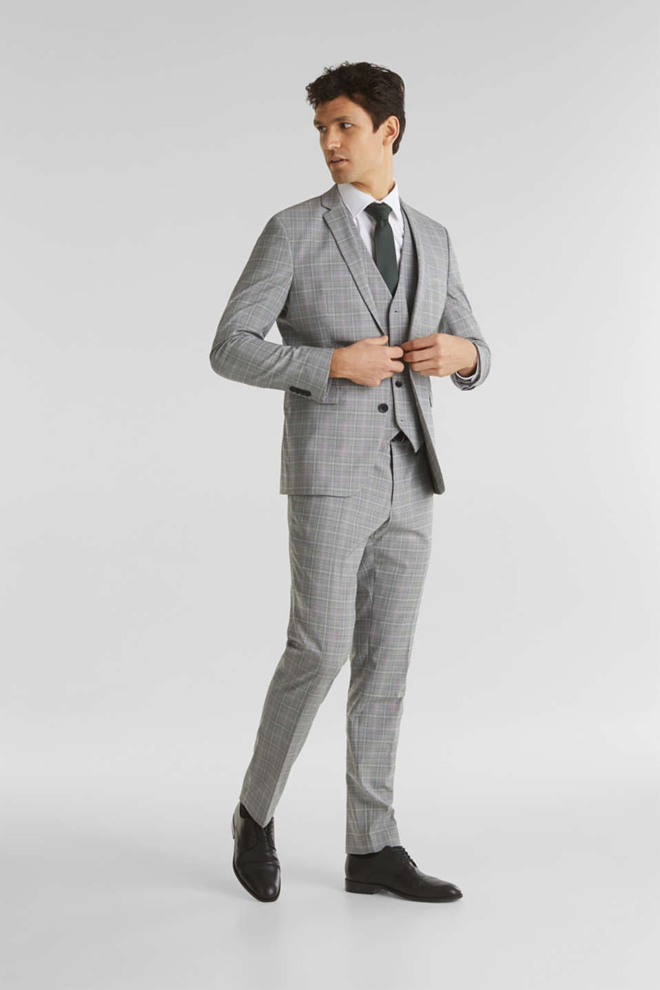 3-PIECE mix + match: Prince of Wales check waistcoat, LIGHT GREY 3, detail image number 1