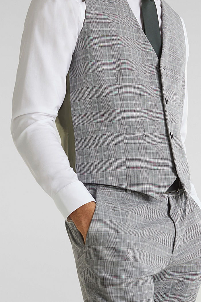 3-PIECE mix + match: Prince of Wales check waistcoat, LIGHT GREY, detail image number 2