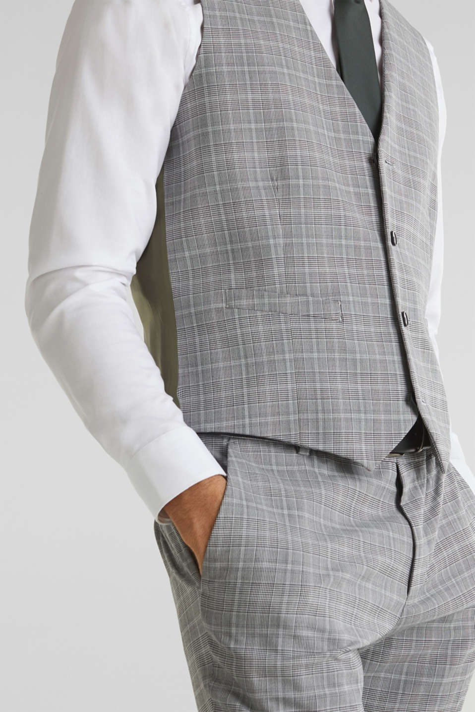 3-PIECE mix + match: Prince of Wales check waistcoat, LIGHT GREY 3, detail image number 2