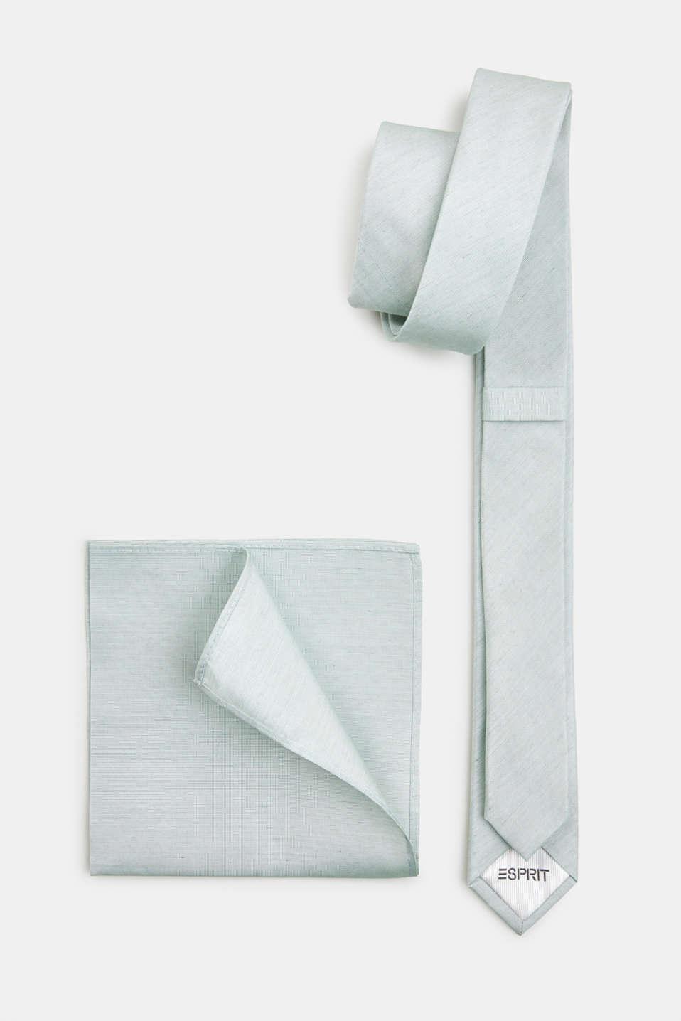 Tie and pocket square set, PASTEL GREEN 5, detail image number 2