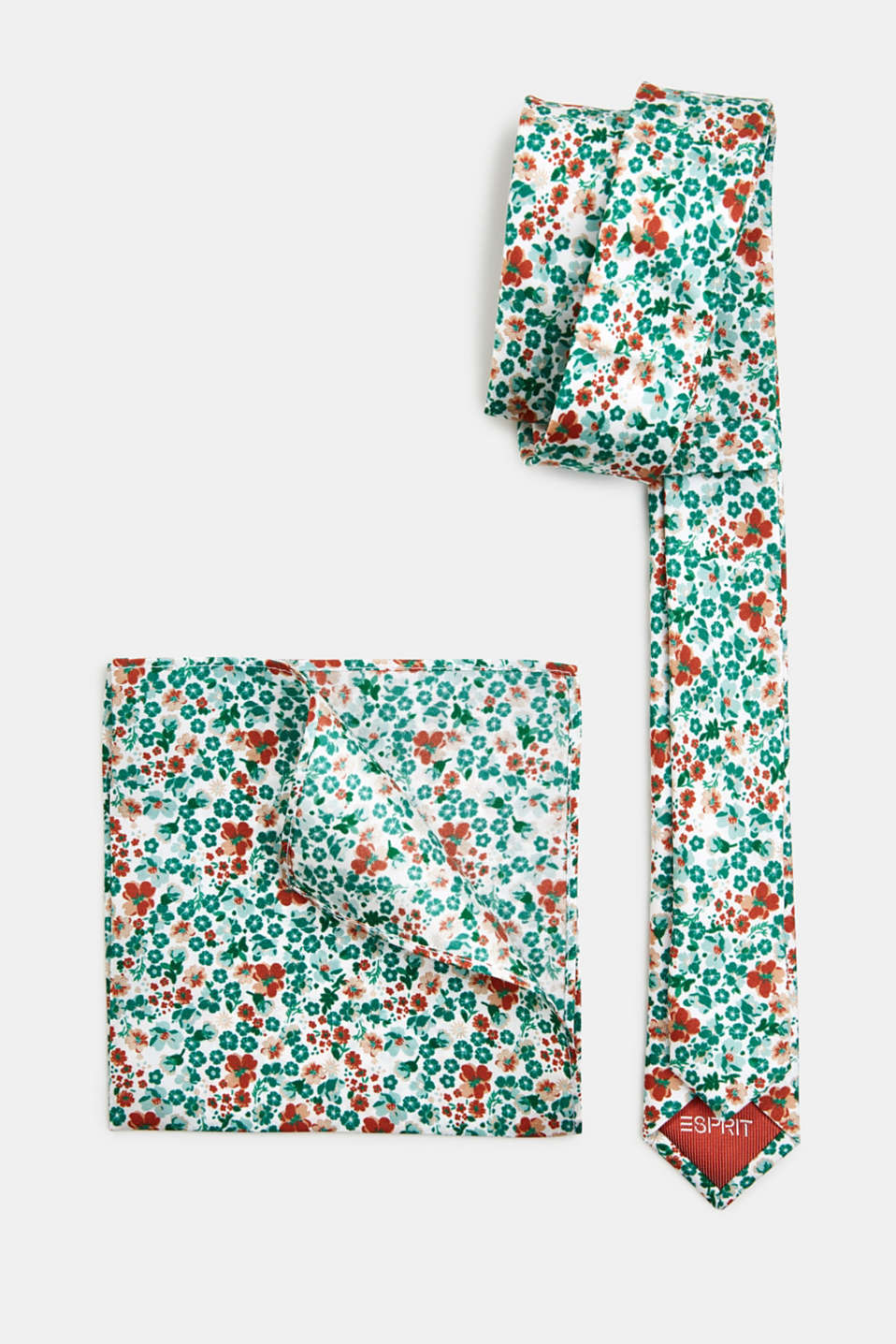100% silk: Tie and pocket square set, PASTEL GREEN 4, detail image number 2