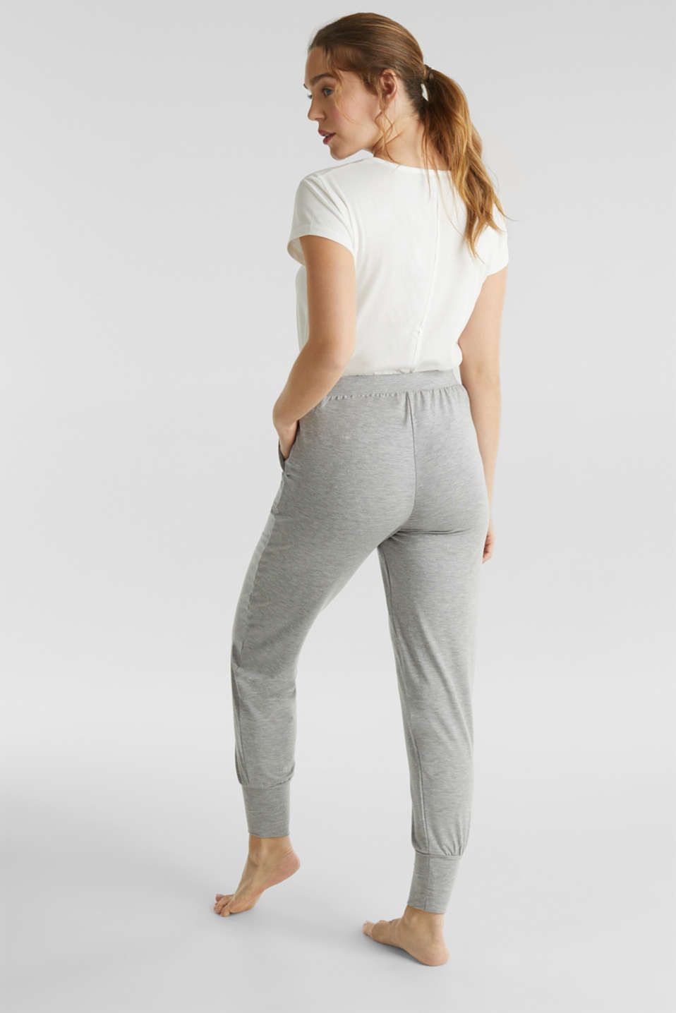 Stretch trousers with LENZING™ ECOVERO™ viscose, GREY 2, detail image number 2