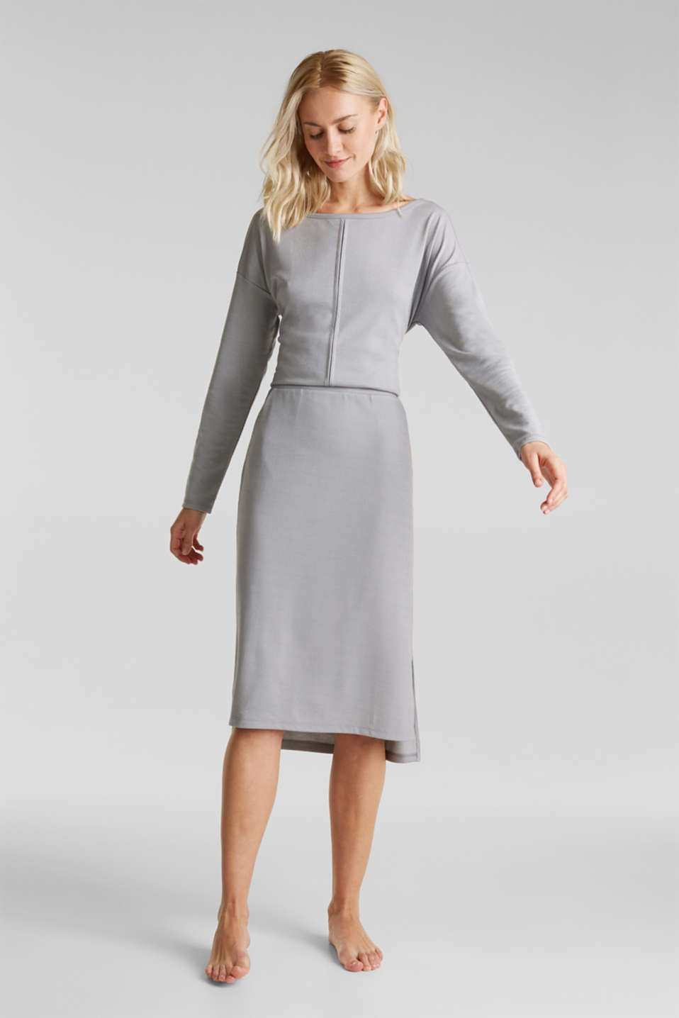Esprit - Skirt with a ribbed texture and modal/TENCEL™