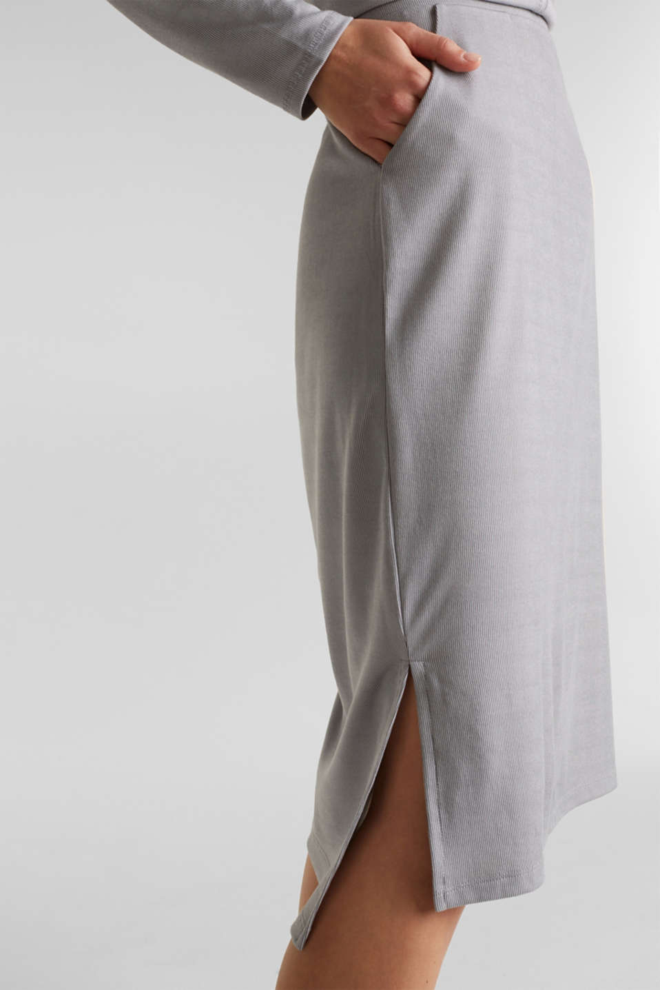 Made of modal/TENCEL™: ribbed skirt, GREY 2, detail image number 5