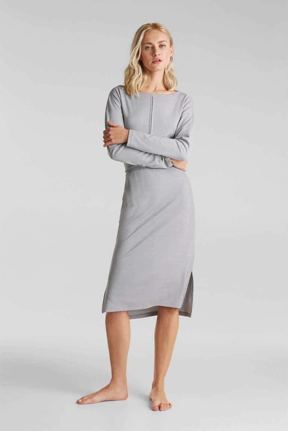 Made of modal/TENCEL™: ribbed skirt, GREY 2, detail image number 1