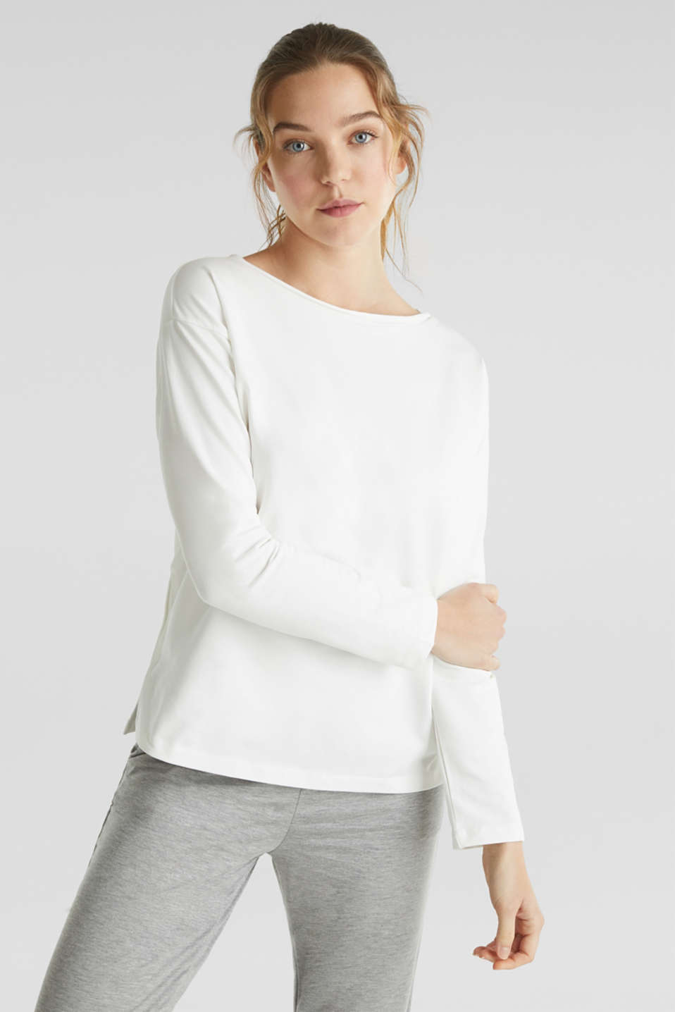 Esprit - Sweat-shirt stretch à encolure bateau