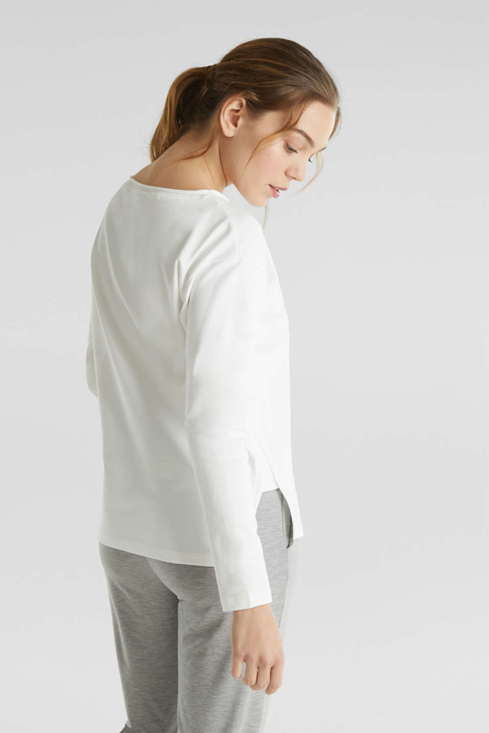 Stretchy sweatshirt with a bateau neckline, OFF WHITE, detail image number 3
