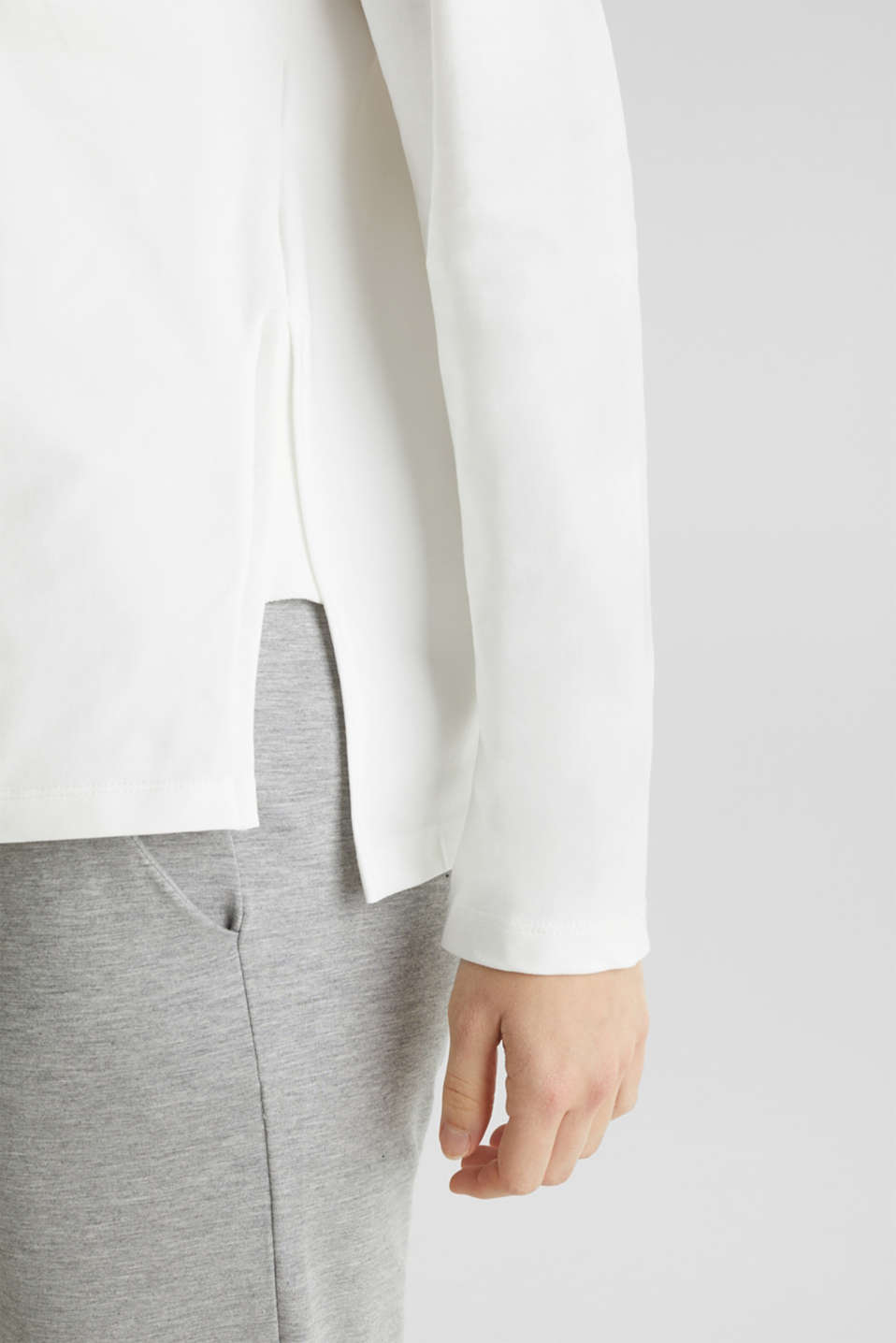 Stretchy sweatshirt with a bateau neckline, OFF WHITE, detail image number 2