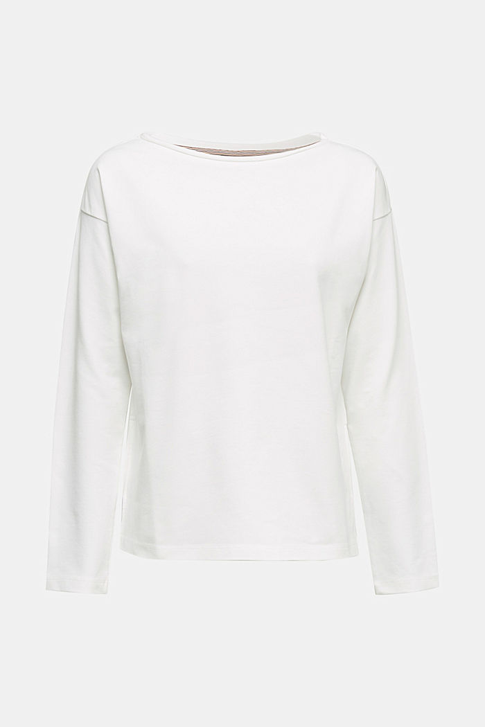 Stretch cotton sweatshirt, OFF WHITE, detail image number 5