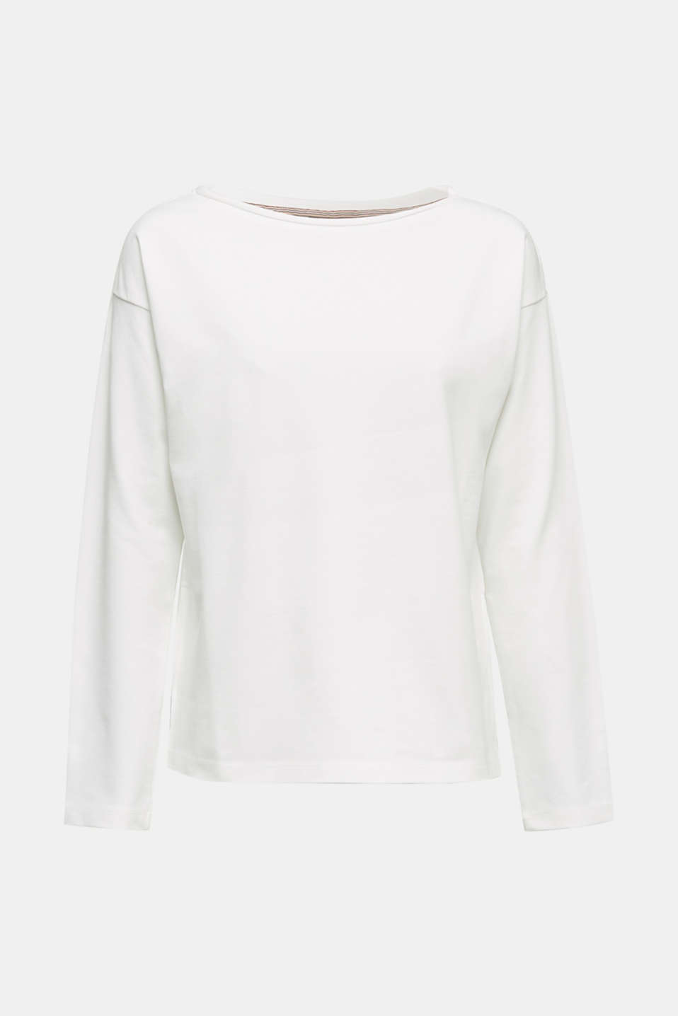 Stretchy sweatshirt with a bateau neckline, OFF WHITE, detail image number 5