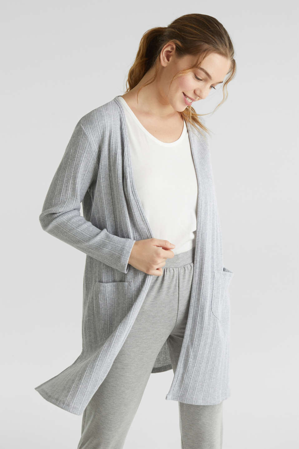 Jersey cardigan with a ribbed texture, GREY 2, detail image number 0