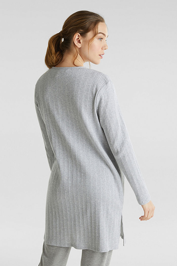 Jersey cardigan with a ribbed texture, GREY, detail image number 3