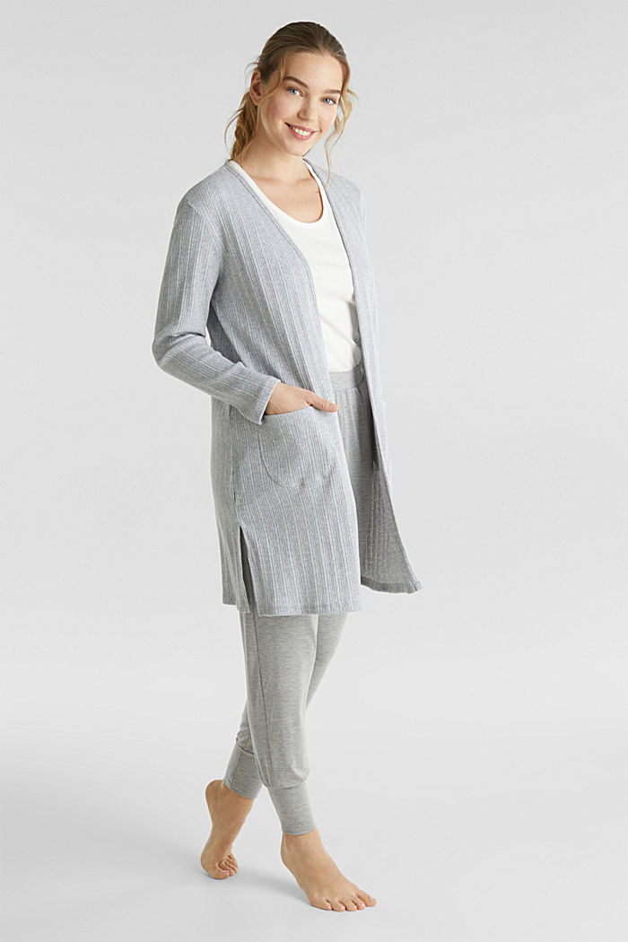 Jersey cardigan with a ribbed texture, GREY, detail image number 1