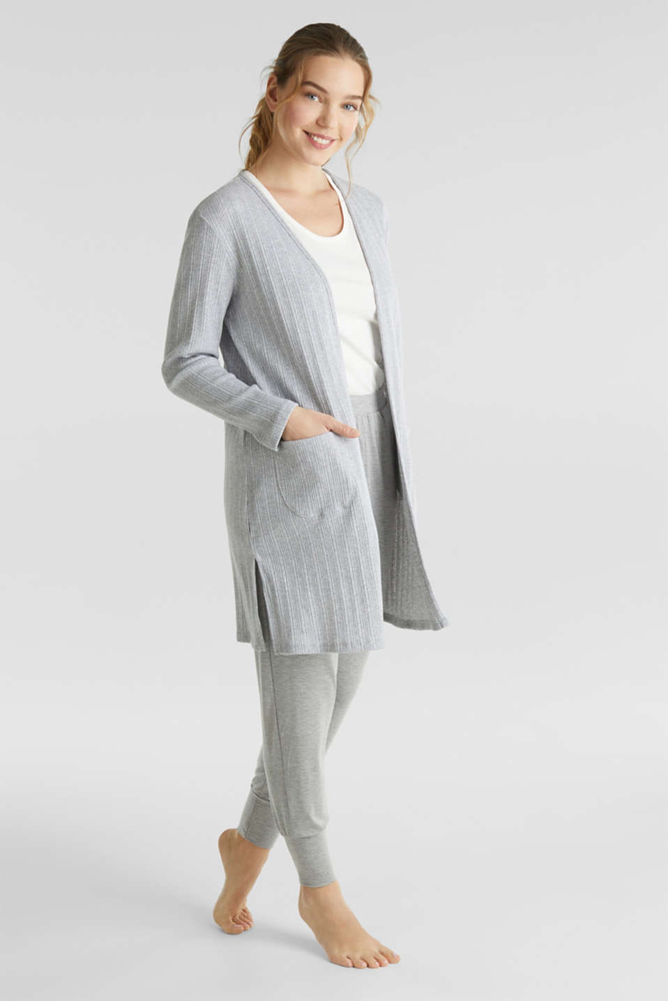 Jersey cardigan with a ribbed texture, GREY 2, detail image number 1