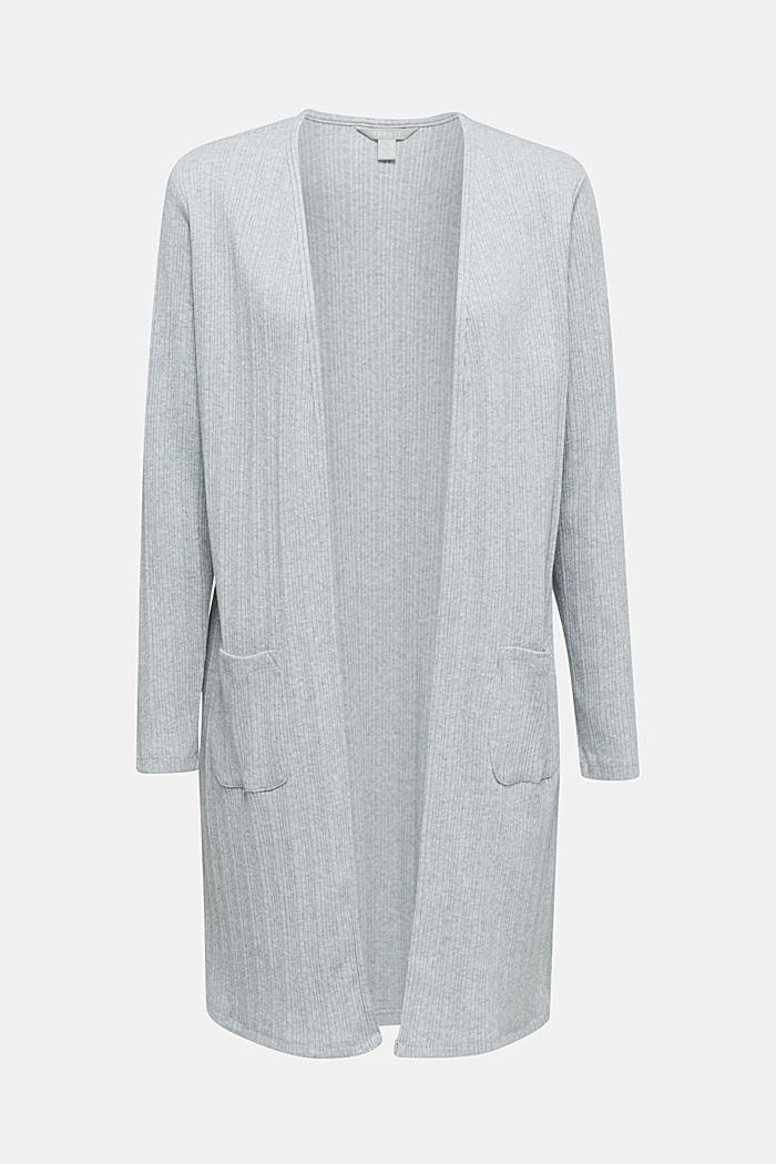 Jersey cardigan with a ribbed texture, GREY, detail image number 5