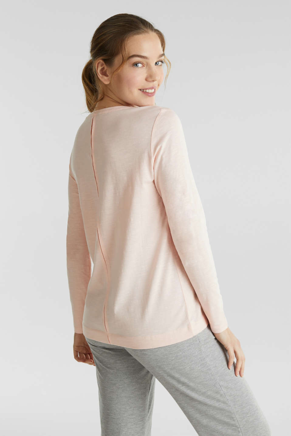 Long sleeve slub top with a pintuck, 100% cotton, SALMON, detail image number 2