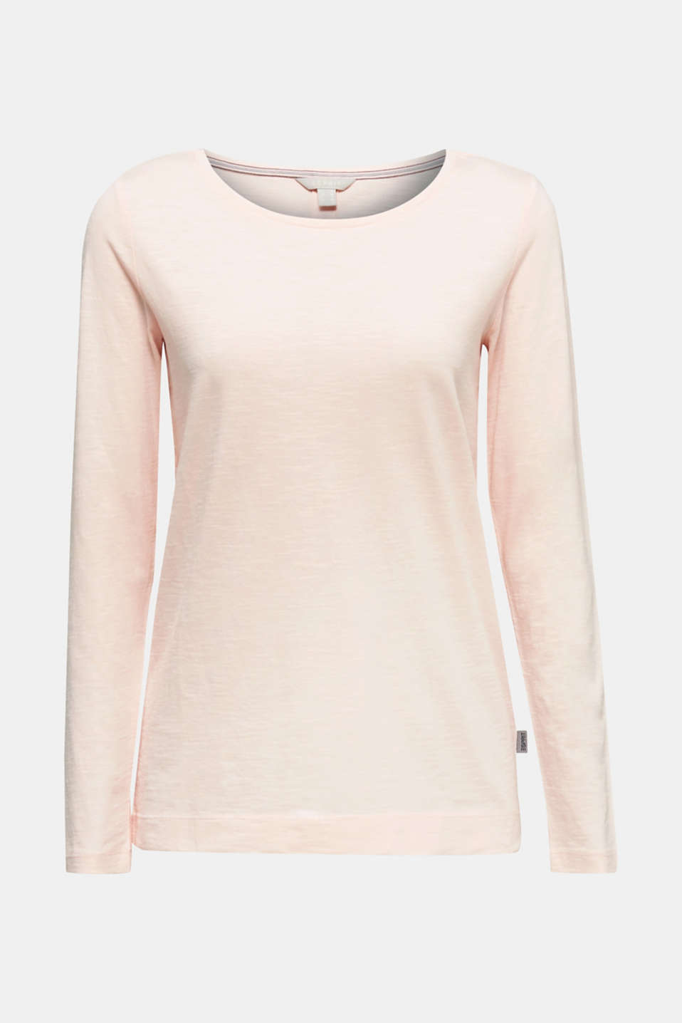 Long sleeve slub top with a pintuck, 100% cotton, SALMON, detail image number 4