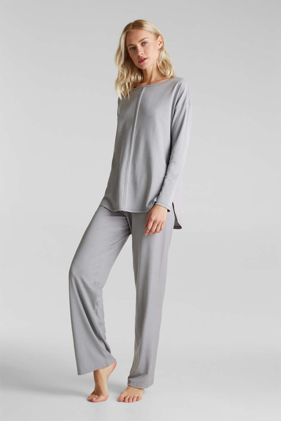 Esprit - Ribbed long sleeve top with modal/TENCEL™