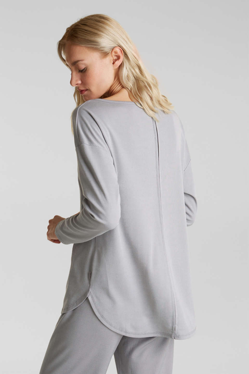 Ribbed long sleeve top with modal/TENCEL™, GREY 2, detail image number 3