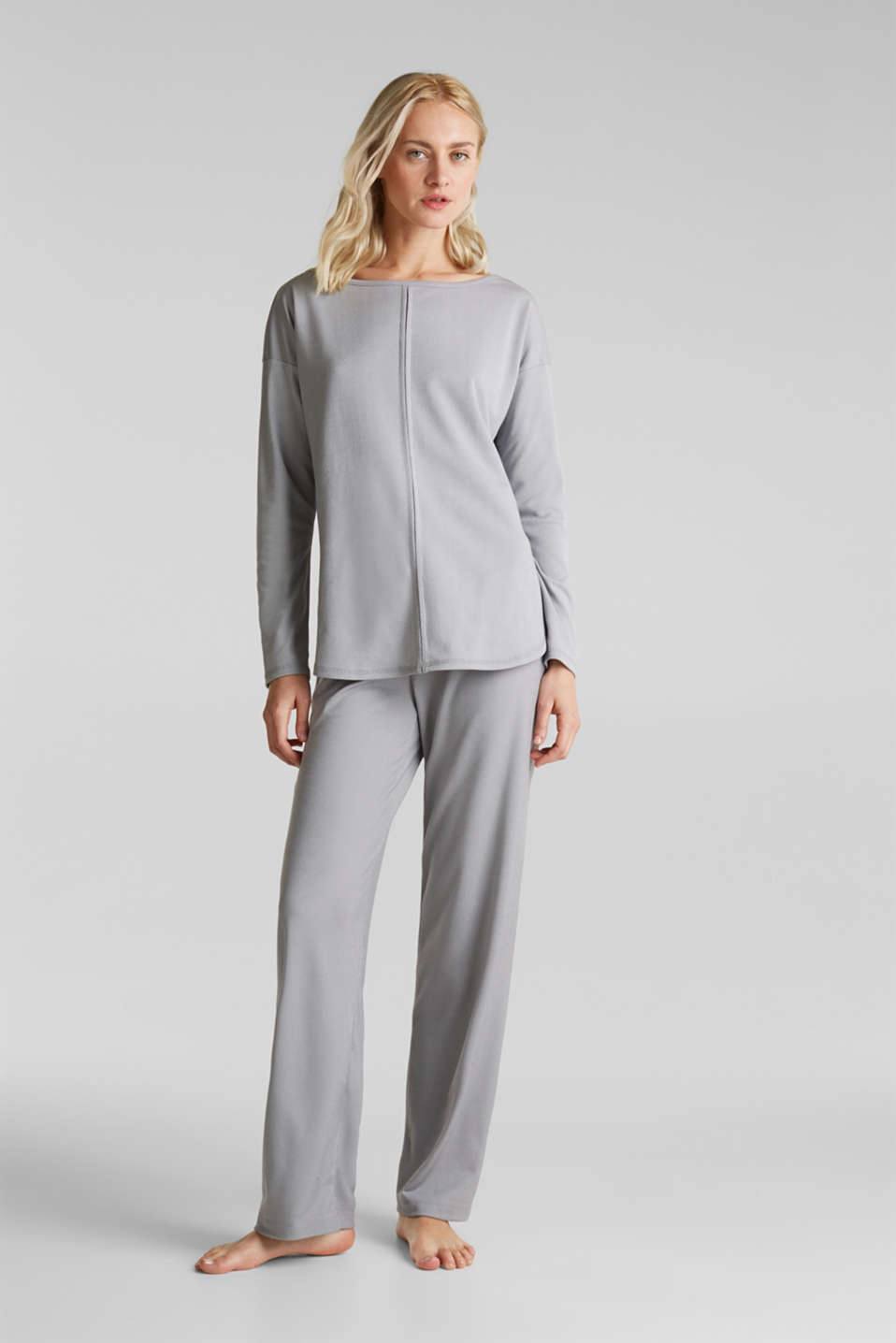 Ribbed long sleeve top with modal/TENCEL™, GREY 2, detail image number 1