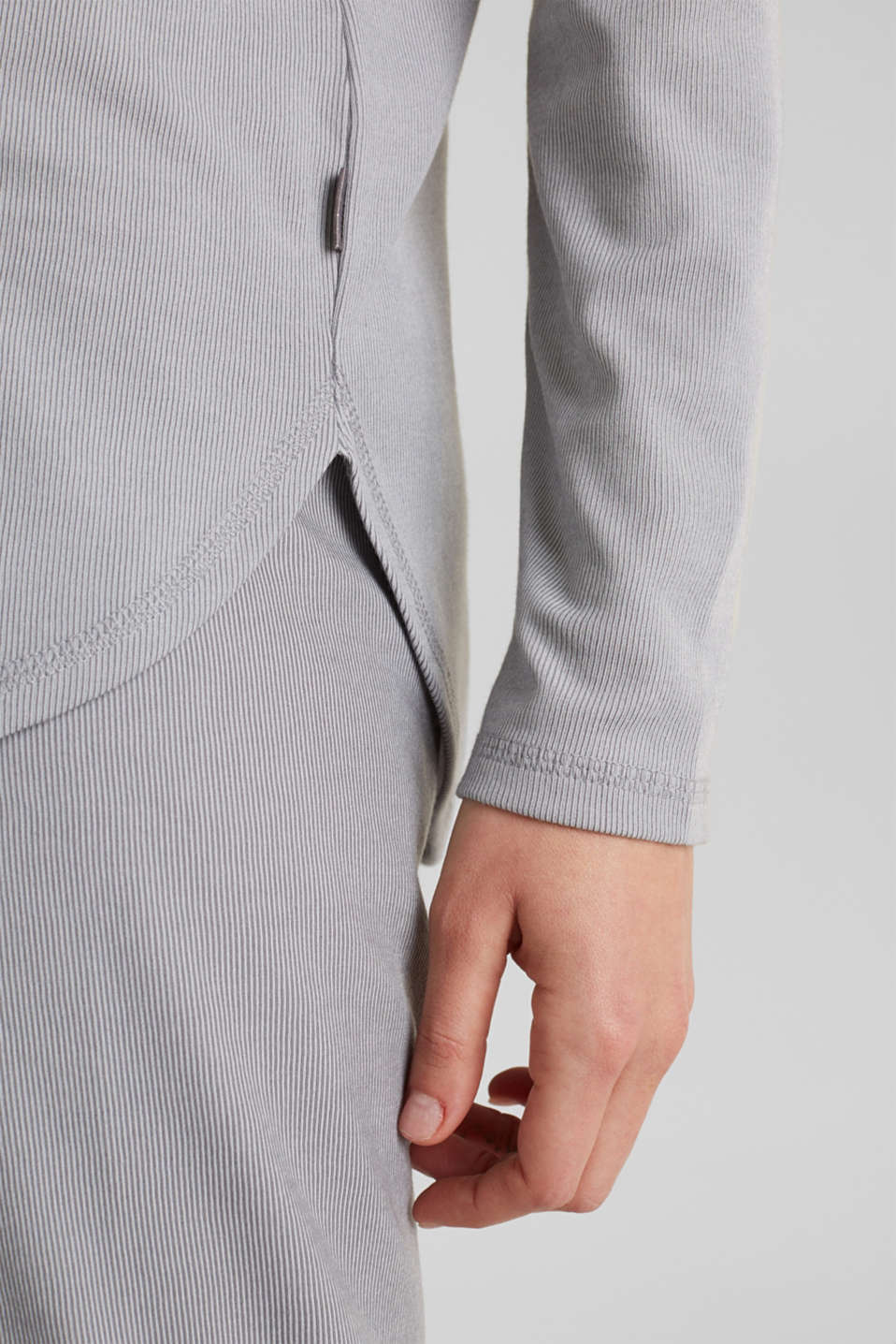 Ribbed long sleeve top with modal/TENCEL™, GREY 2, detail image number 5