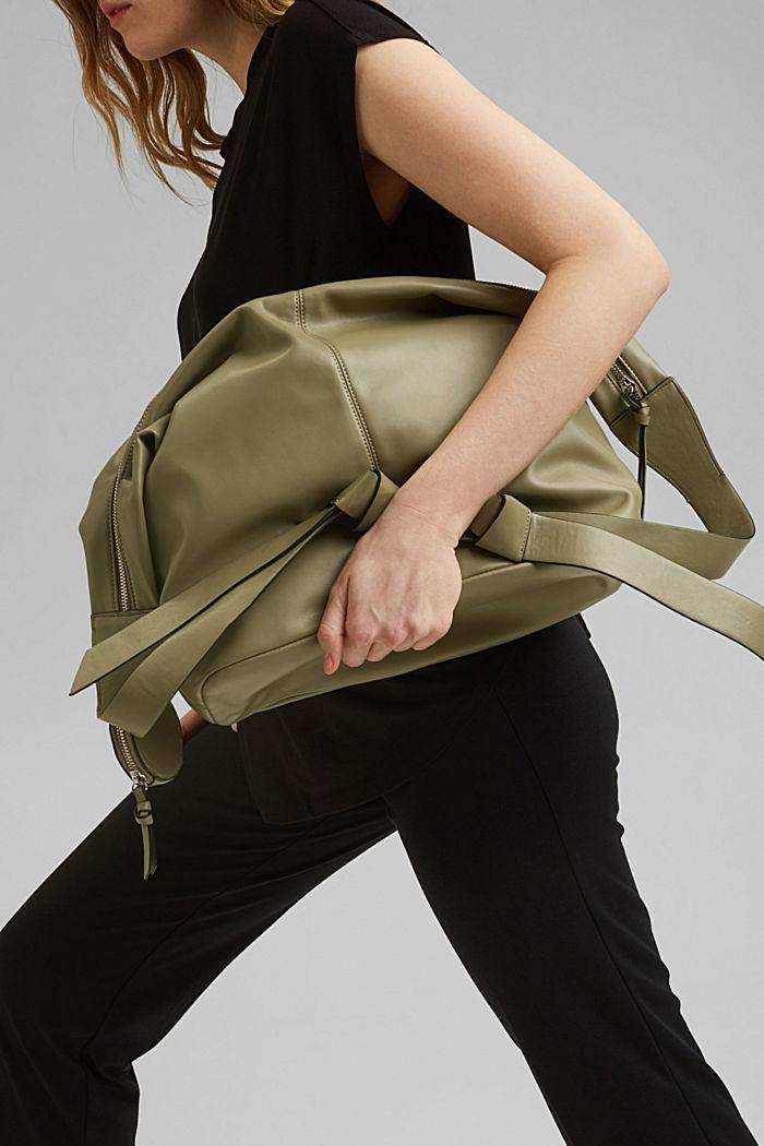 Vegan: Bag with small pendant bag, LIGHT KHAKI, detail image number 5