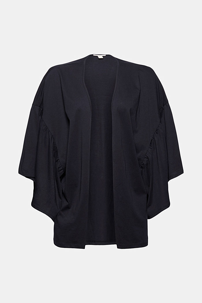 Organic cotton kimono with ruched sleeves