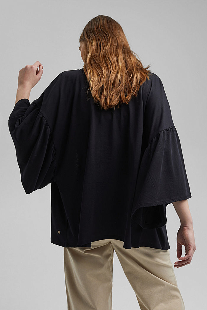 Organic cotton kimono with ruched sleeves, BLACK, detail image number 3