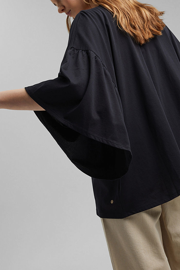 Organic cotton kimono with ruched sleeves, BLACK, detail image number 2