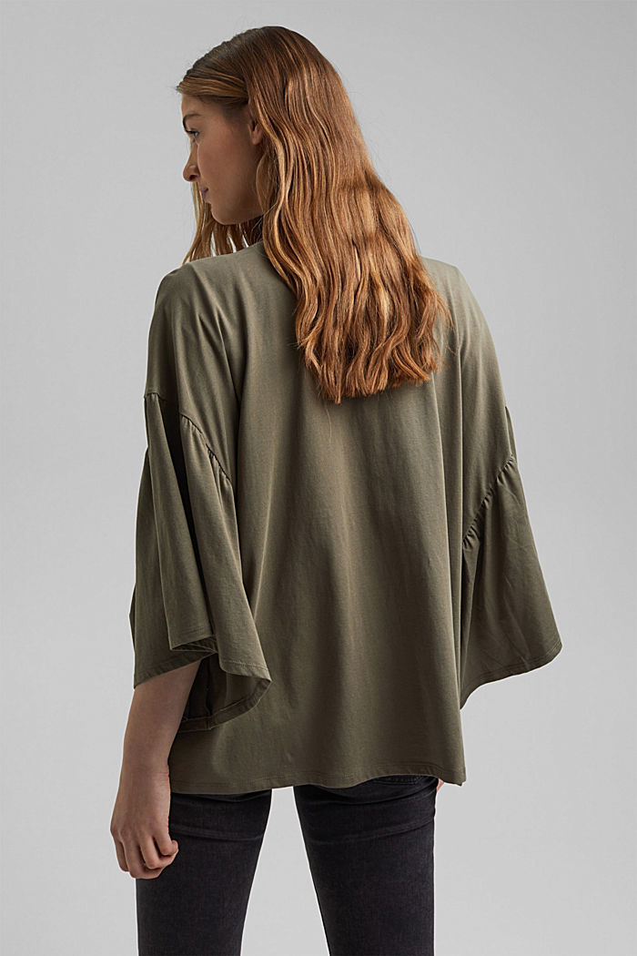 Organic cotton kimono with ruched sleeves, KHAKI GREEN, detail image number 2