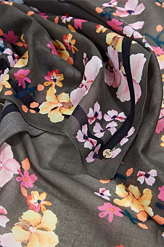 Quadratisches Tuch, 100% Organic Cotton, KHAKI GREEN, detail image number 2