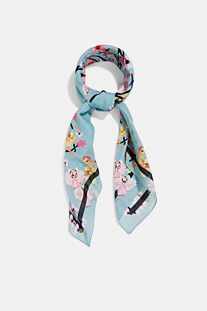 Square scarf, 100% organic cotton, LIGHT BLUE, detail image number 0